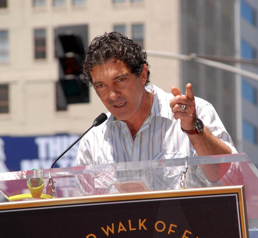 Antonio Banderas speaking at the Hollywood Walk of Fame