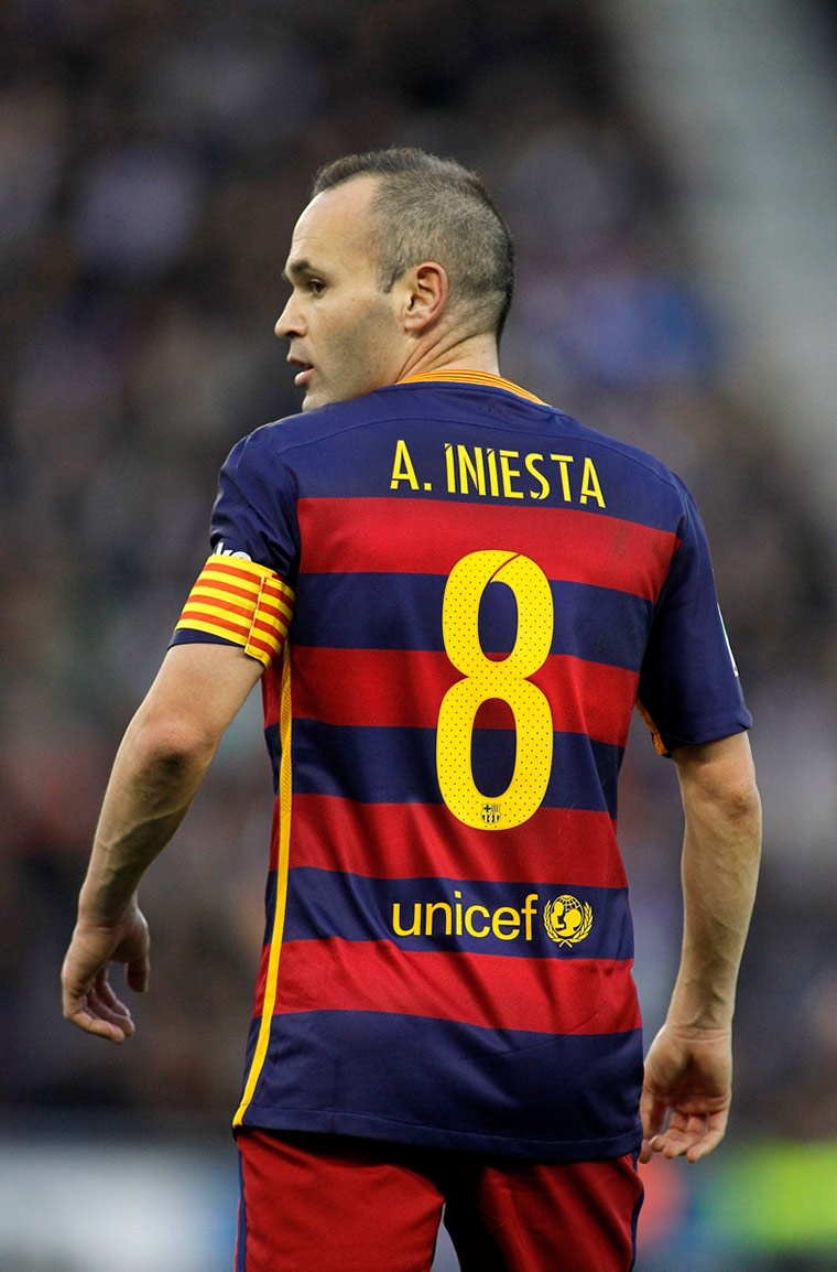 FC Barcelona's Anders Iniesta is one of the greatest midfielders of all time. He wore the number 8 shirt for much of his career.