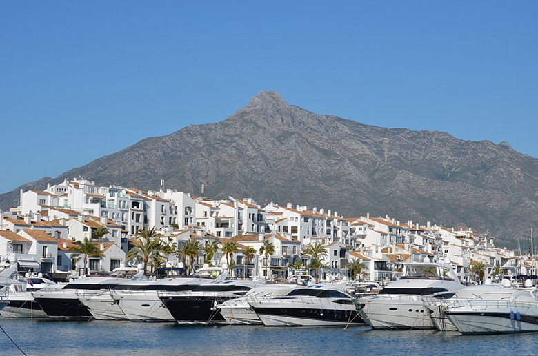 The white buildings overlooking Marbella harbour in Spain