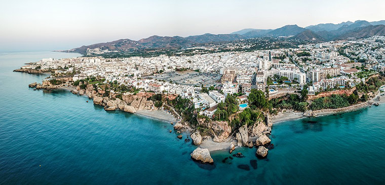 A panoramic view of Nerja in southern Spain